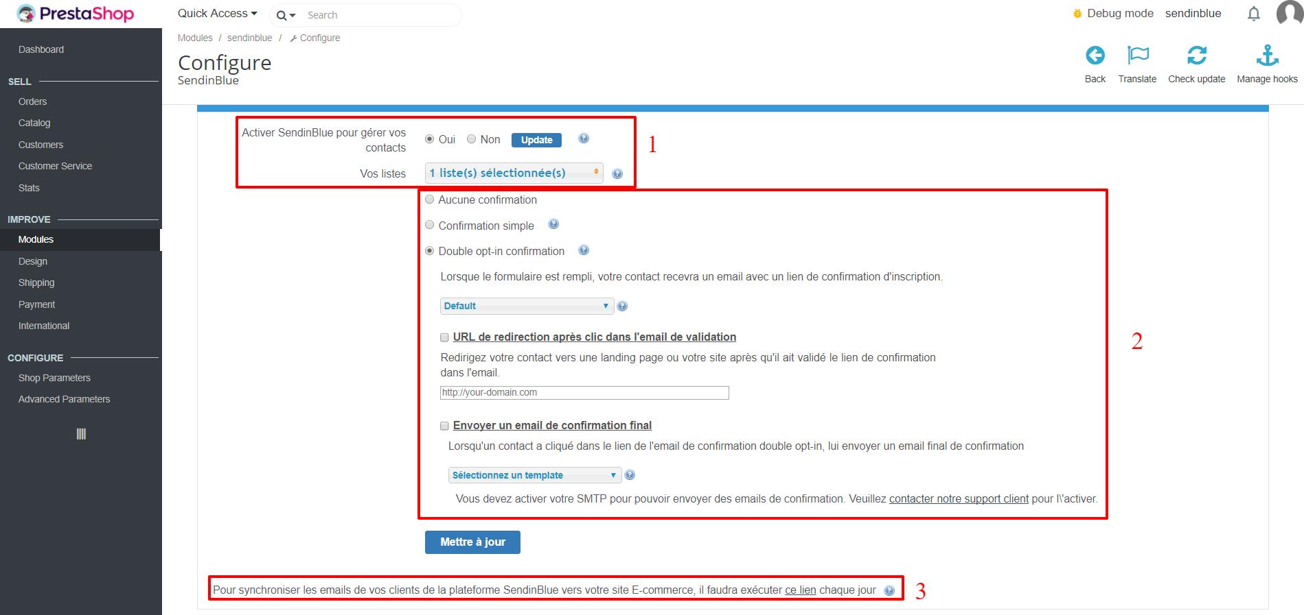 Module prestashop de newsletters Sendinblue : gestion de l'inscription des contacts