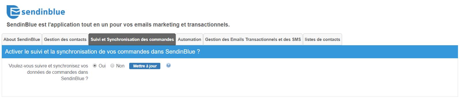 Module Prestashop de newsletters Sendinblue : activation du tracking des commandes.