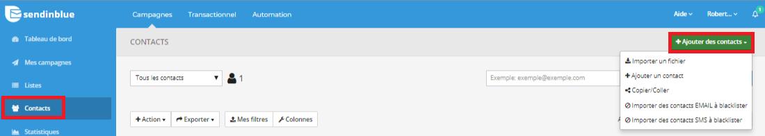 Ajouter des nouveaux contacts sur Sendinblue