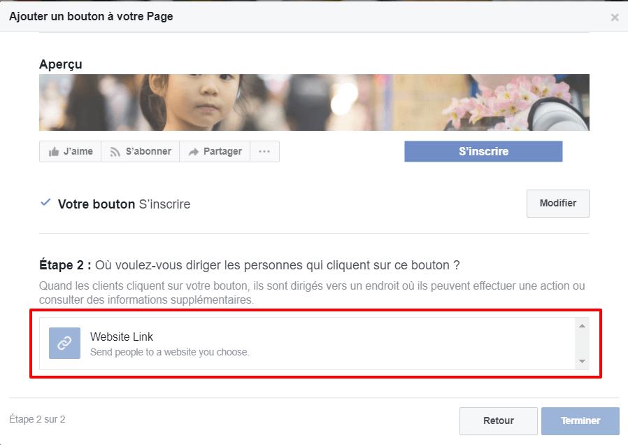 Newsletter Facebook : deuxième étape pour modifier le bouton principal de votre page.