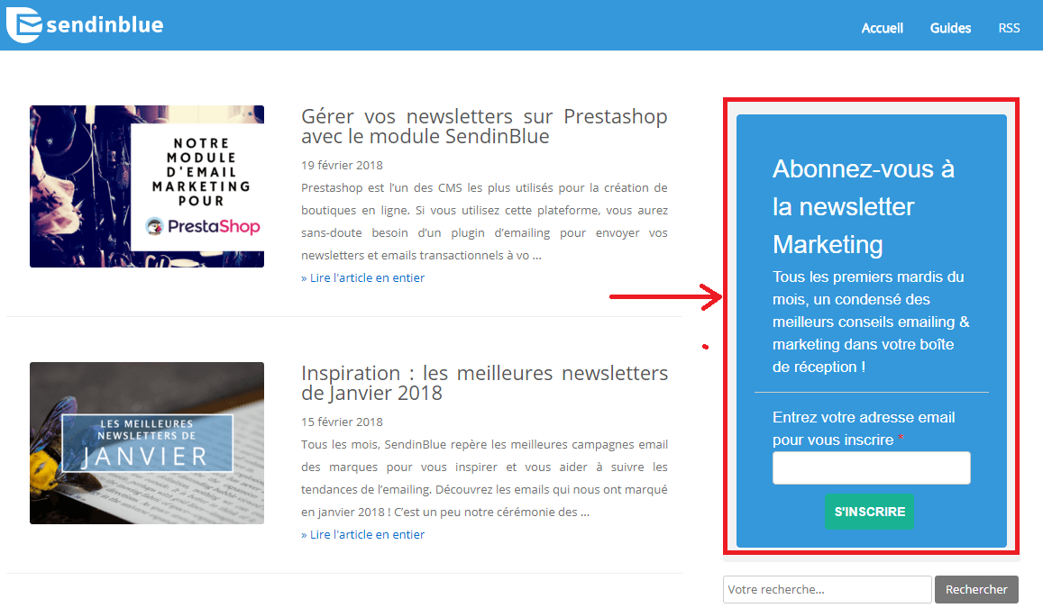 Formulaire d'inscription à la newsletter du blog de Sendinblue
