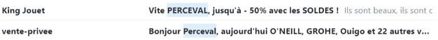 Des objets d'emails personnalisés avec le prénom du destinataire.