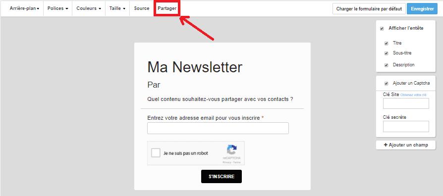 Partager ou intégrer un formulaire d'inscription à une newsletter