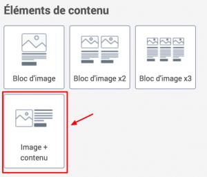 Blocs d'éléments de contenu d'une newsletter