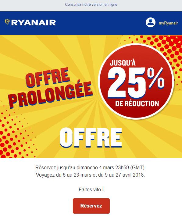 Exemple de Call To Action #3 - Ryanair