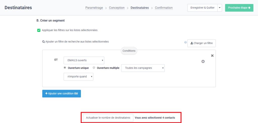 Créer un segment pour filtrer les contacts d'une liste emailing