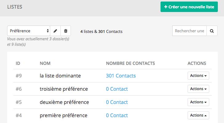 Créer vos listes de contact associées aux préférences de vos formulaire