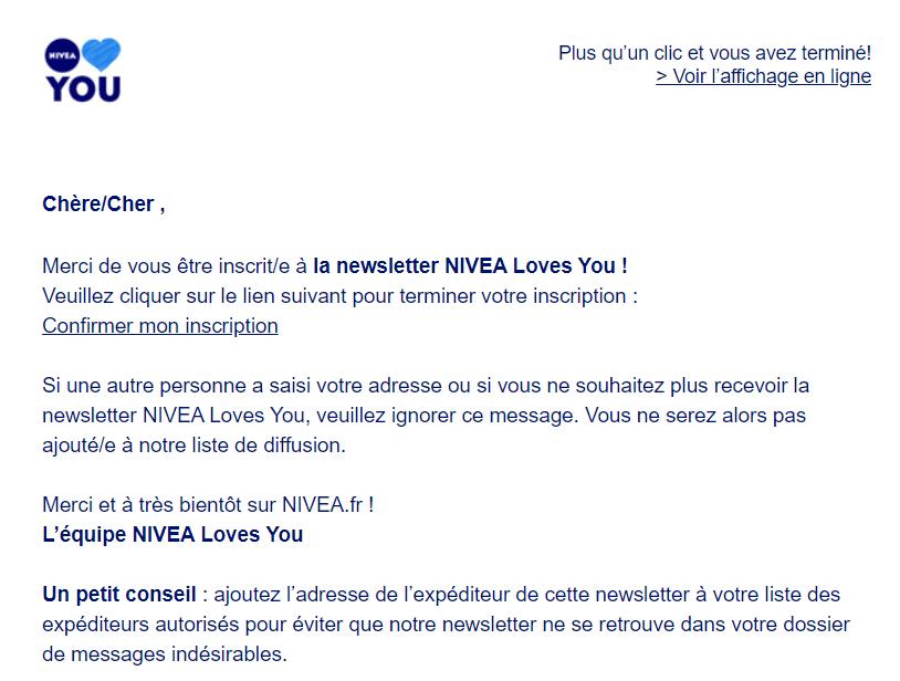 Double opt in : email de Nivea