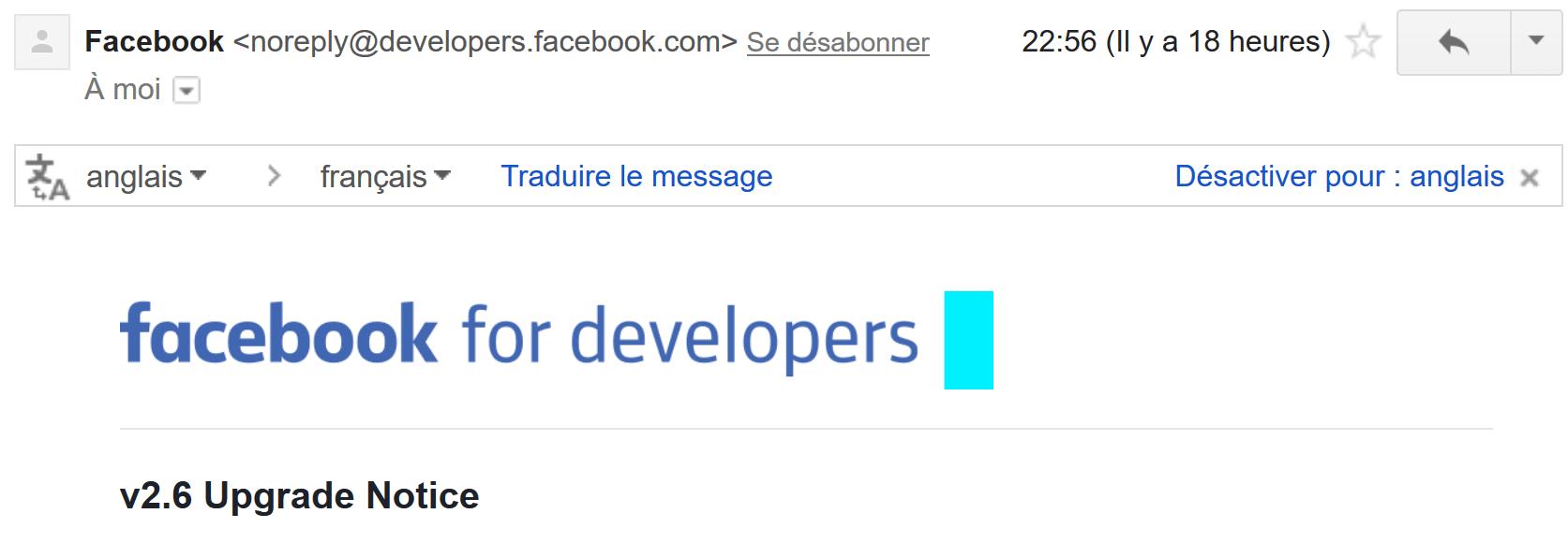 """Un exemple d'email de notification """"noreply"""""""