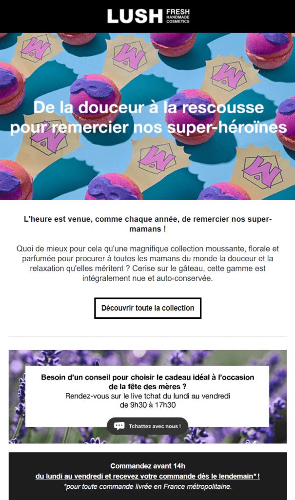 newsletter fete des meres : l'exemple de lush