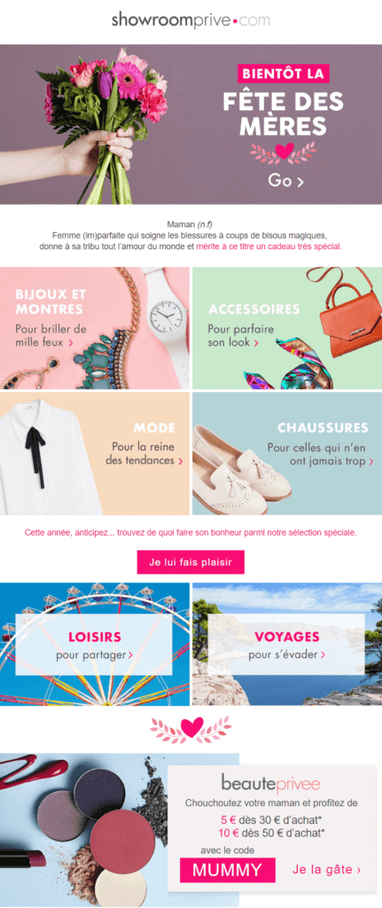 newsletter fete des meres : l'exemple de Showroom privé