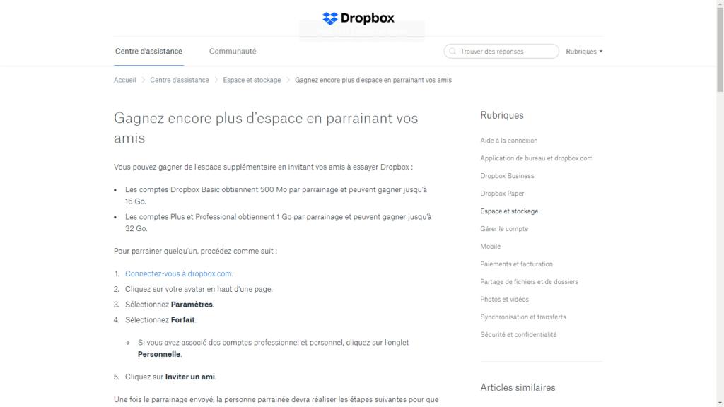 Aperçu du programme de parrainage de Dropbox