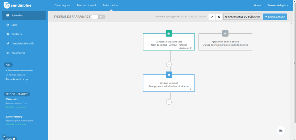 Votre scénario d'automation Sendinblue de l'invitation de nouveaux clients.