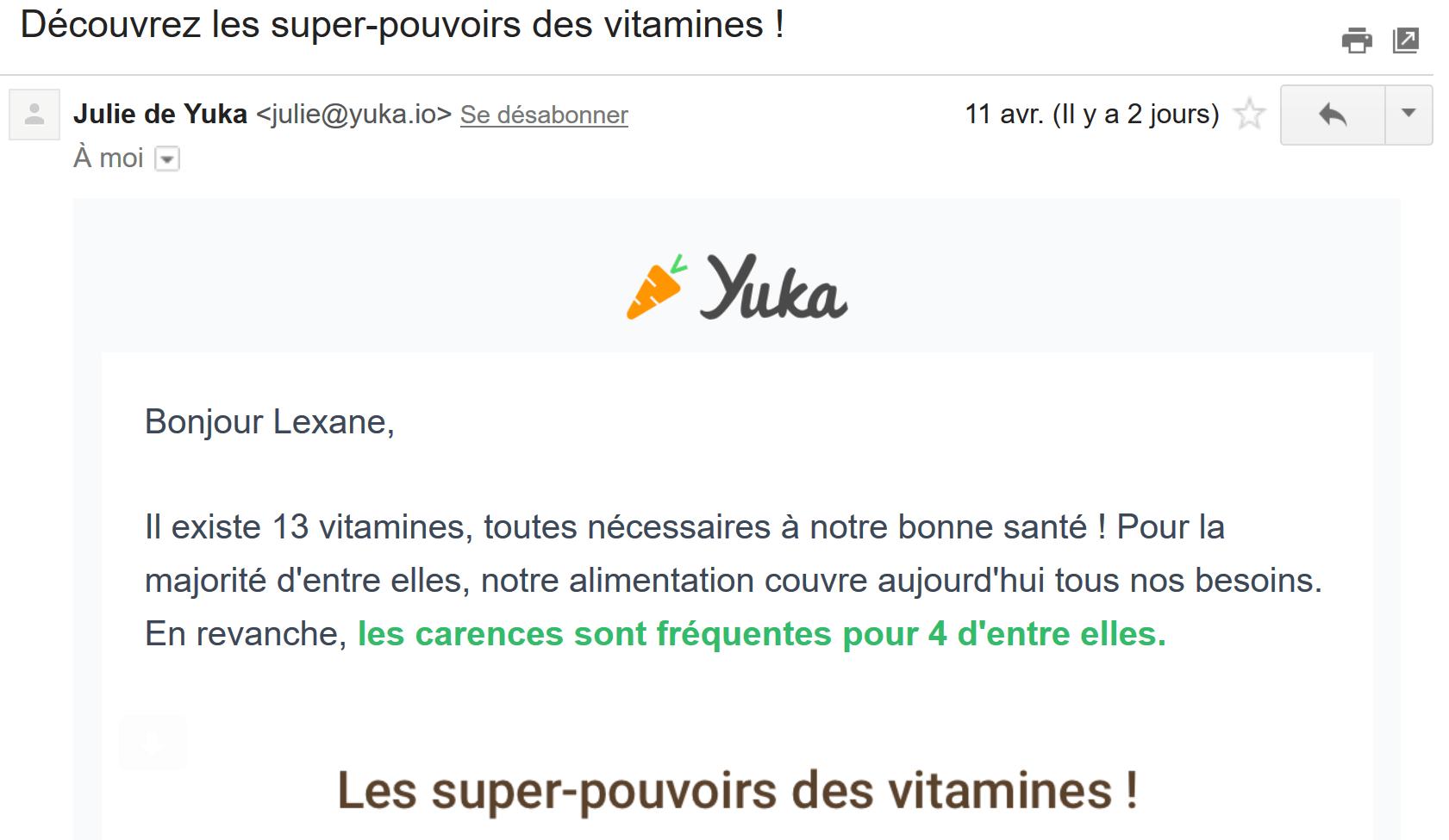 Email de notification de Yuka