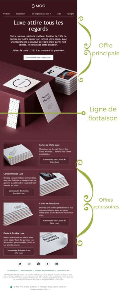 Exemple de design d'email #3 : Moo