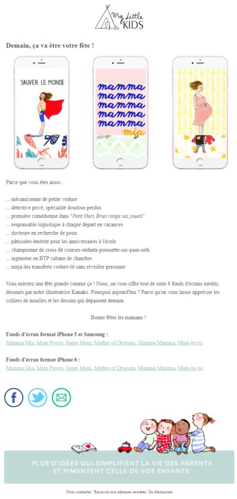 Exemple de design d'email #6 : My Little Kids