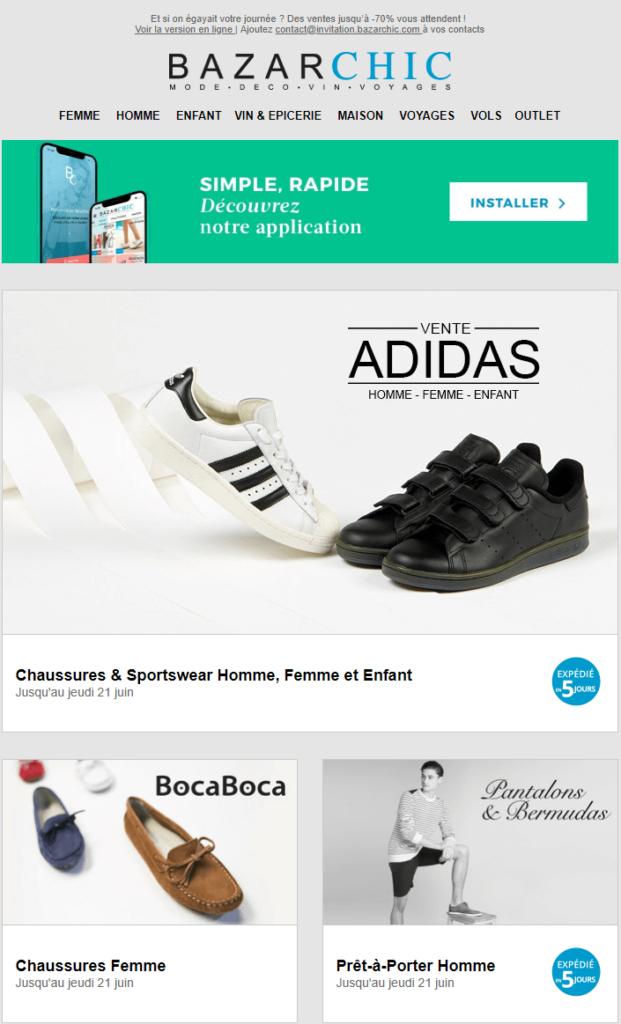 Exemple de design d'email #1 : Bazarchic
