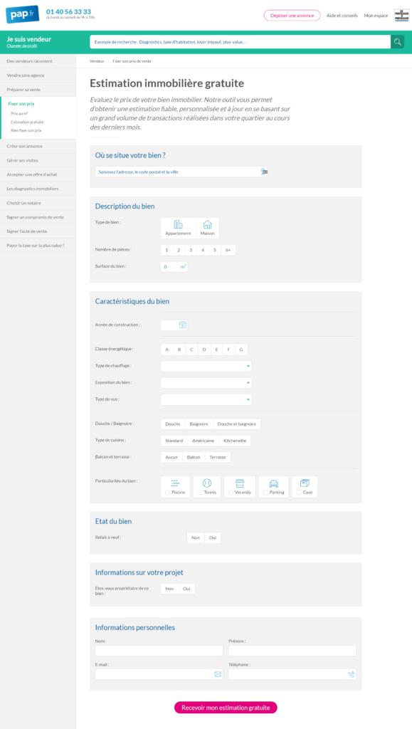 Exemple de landing page lead generation #2 : pap.fr