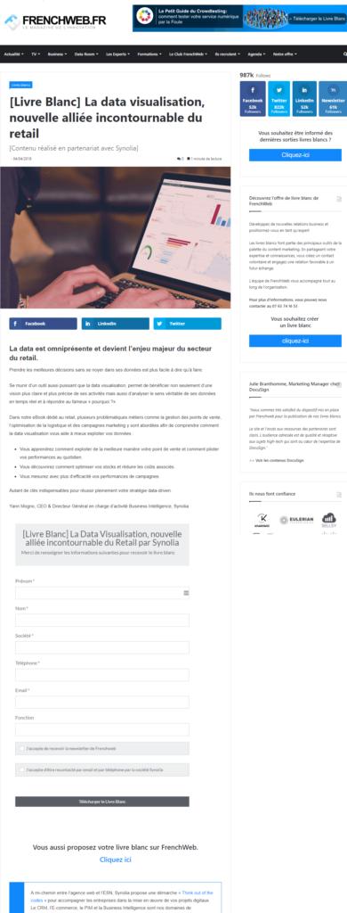 Exemple de landing page lead generation #5 : Frenchweb