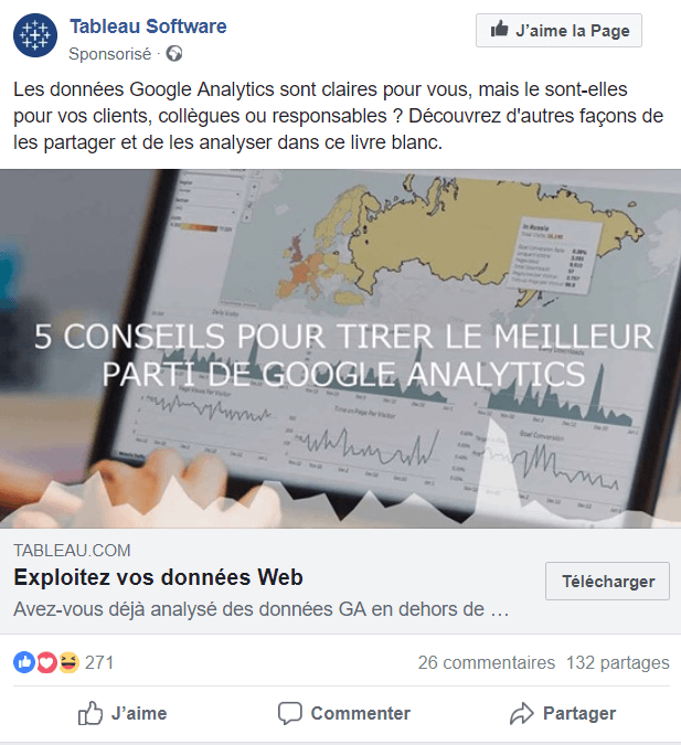 Exemple de retargeting facebook : Tableau Software