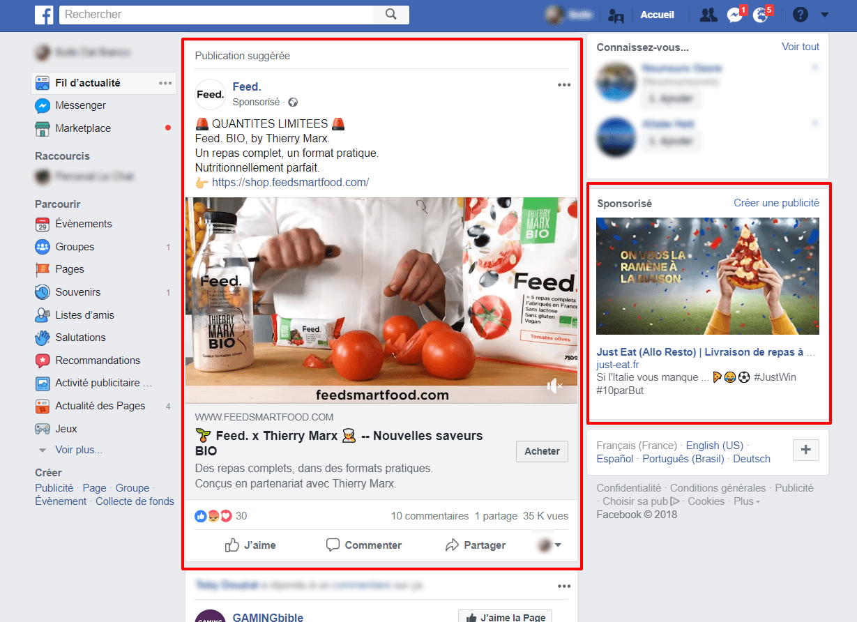 Retargeting : exemple sur Facebook desktop