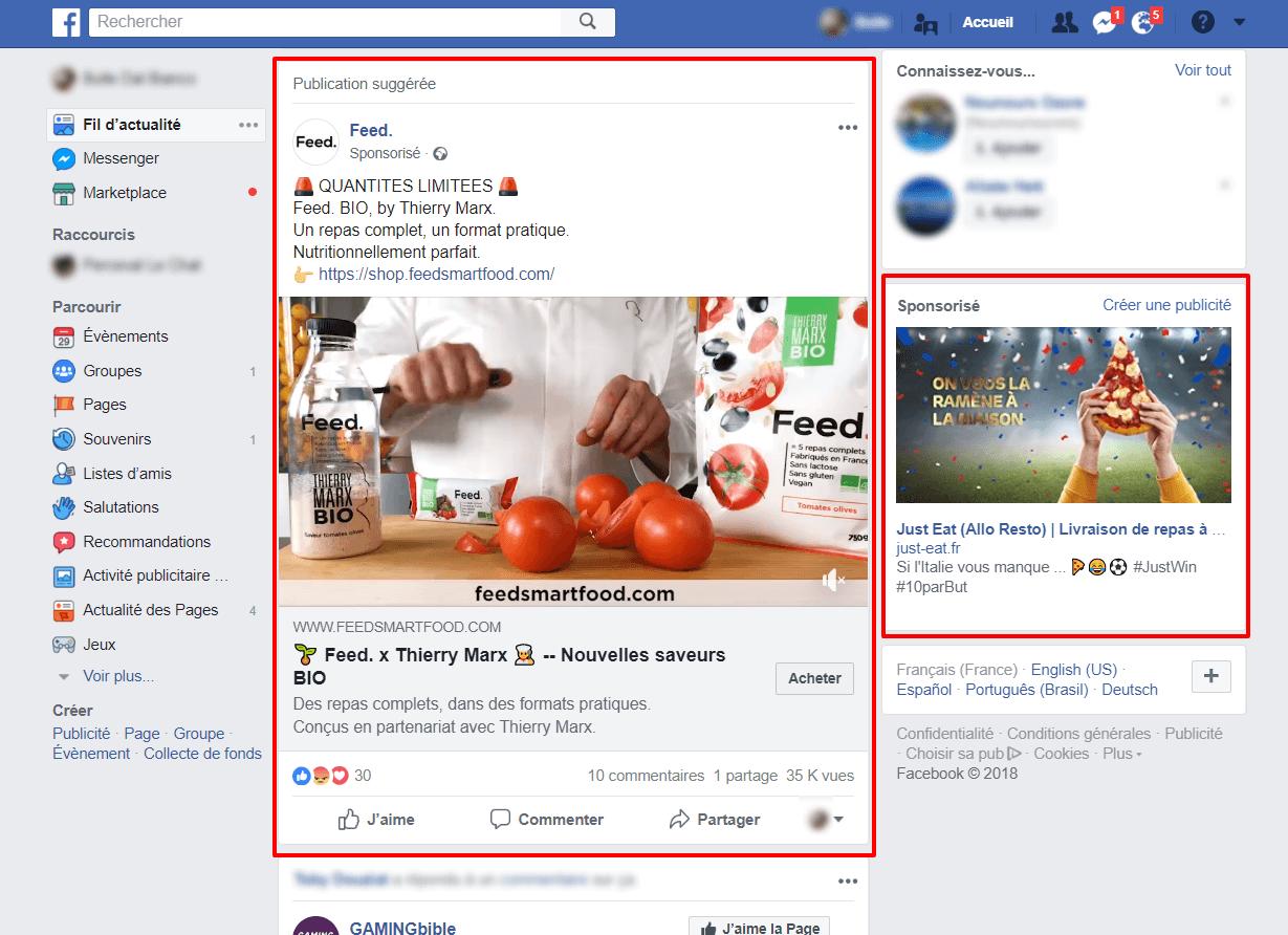 Retargeting : exemple sur Facebook desktop