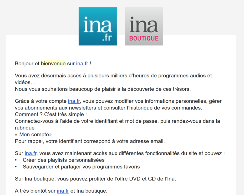 Un email de bienvenue envoyé par l'INA