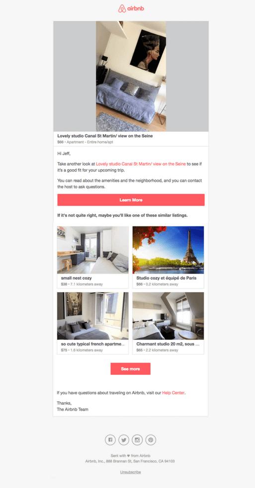 Les emails automatiques d'Airbnb accompagnent le client tout au long du processus de réservation