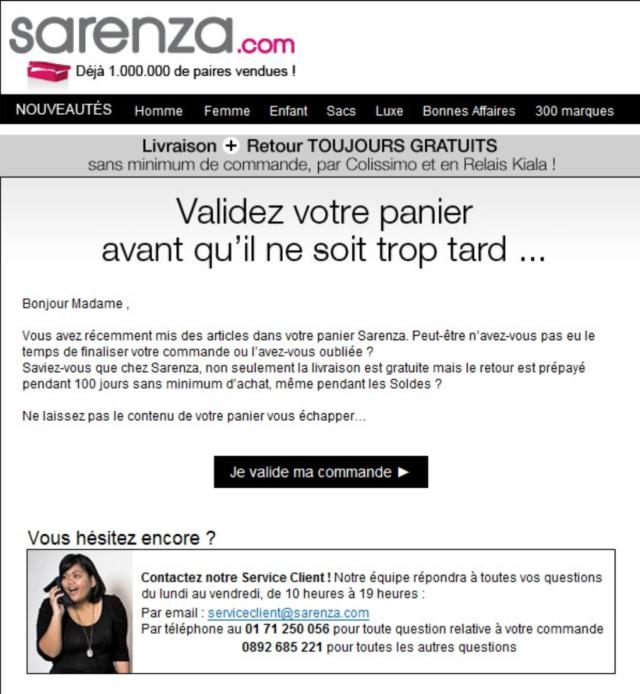 Exemple d'email de relance de panier abandonné #3 : Sarenza