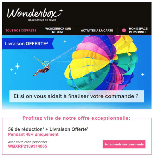 Exemple d'email de relance de panier abandonné #2 : Wonderbox