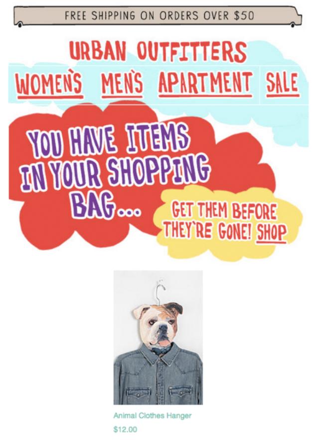 Exemple d'email de relance de panier abandonné #4 : Urban Outfitters