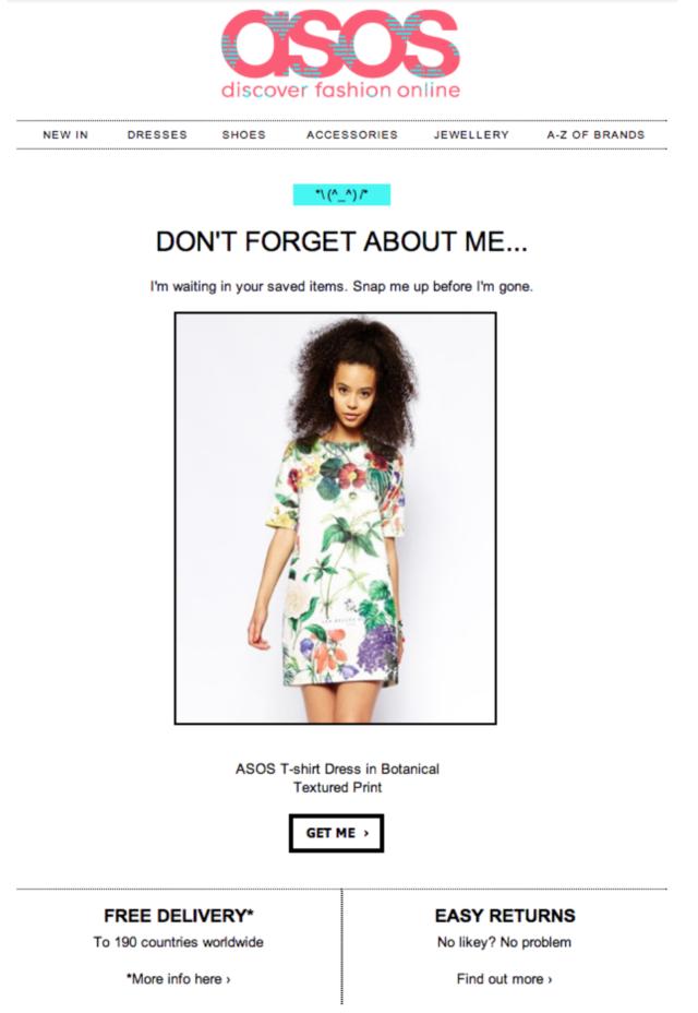 Exemple d'email de relance de panier abandonné #1 : ASOS