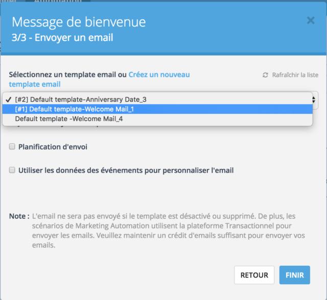 Choix du template d'email associé au scénario