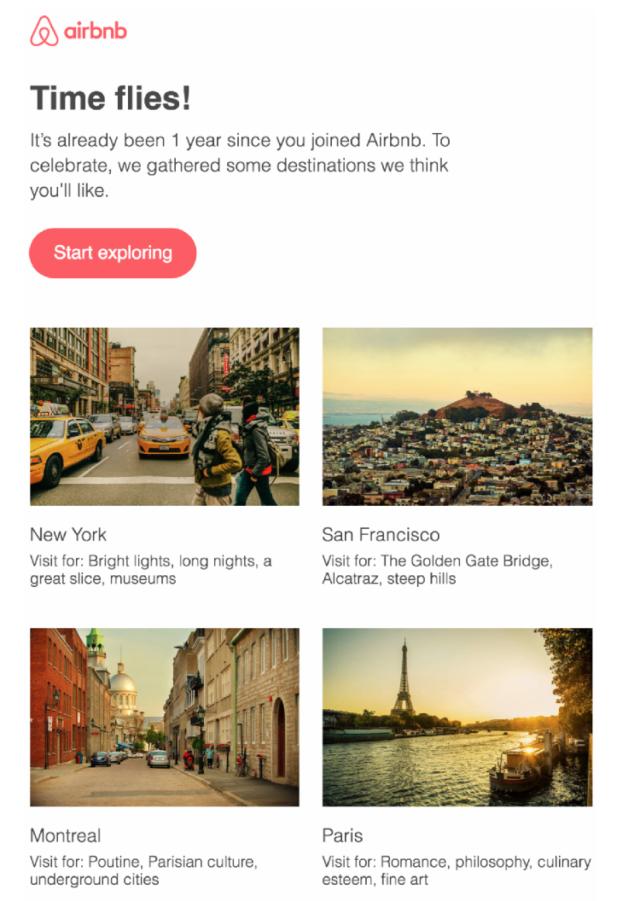 Email de lead nurturing Airbnb