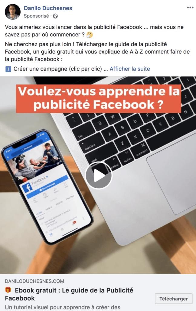 """Exemple de publicité facebook au format """"vidéo"""""""