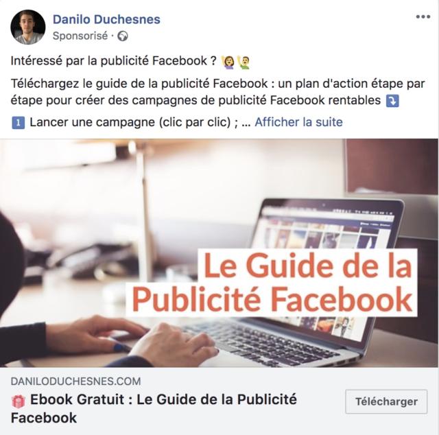 Exemple de publicité facebook pour le téléchargement d'un livre blanc