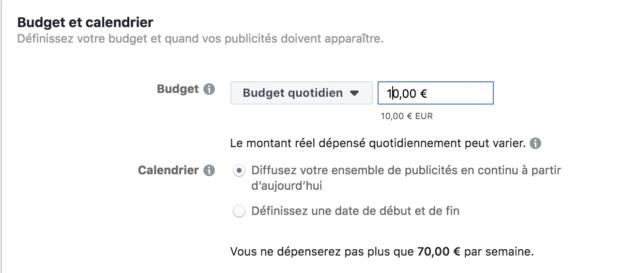 Choix du budget et du calendrier