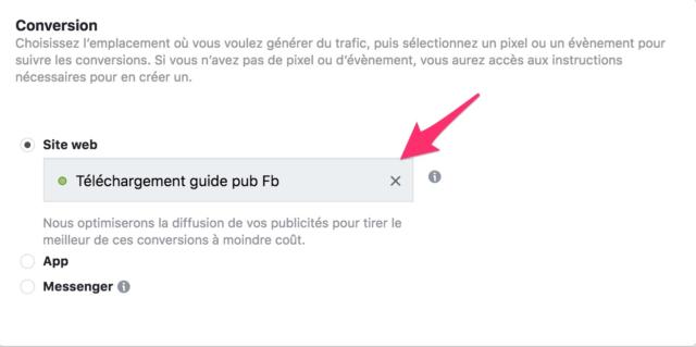 Choix de l'objectif de conversion sur facebook ads