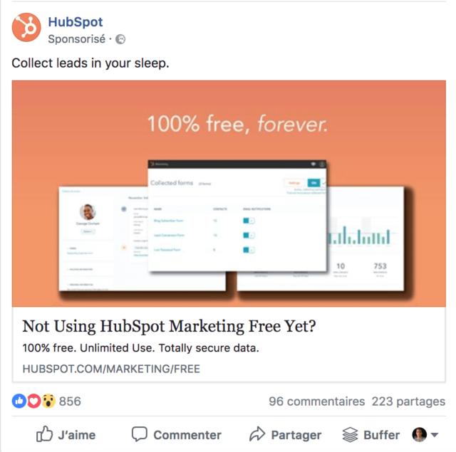 """Exemple de publicité facebook au format """"image unique"""""""