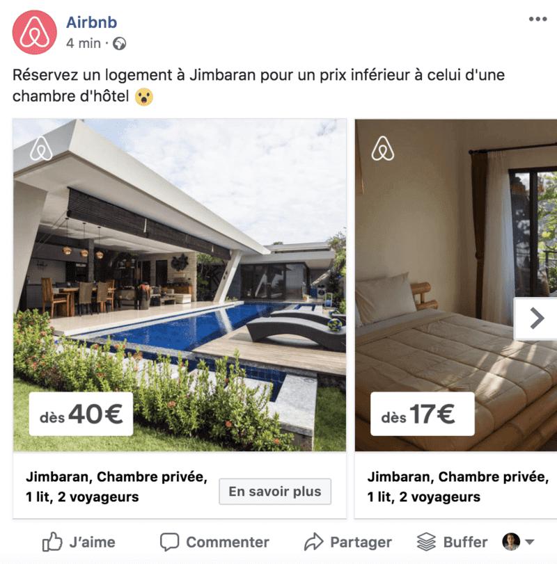 """Exemple de publicité facebook au format """"carrousel"""""""