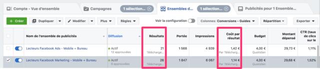 Résultats de la publicité facebook pour l'objectif génération de leads
