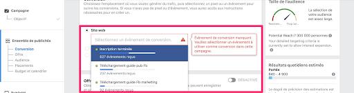 Installation du code de tracking facebook ads