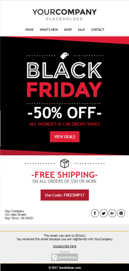 Template email pour le black friday