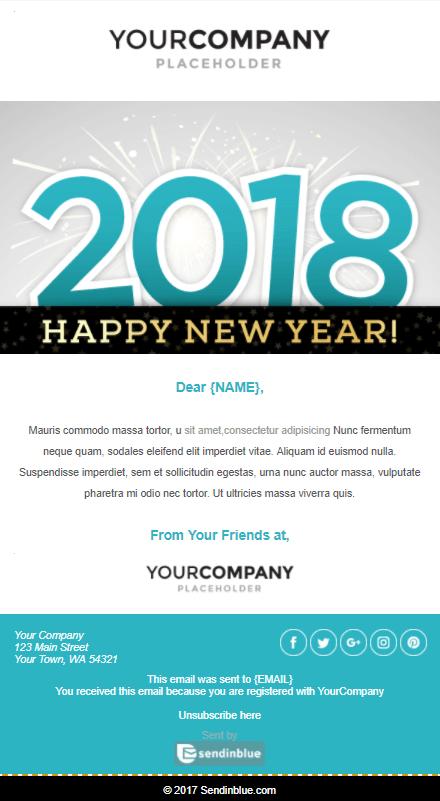 Template email pour la nouvelle année - Sendinblue