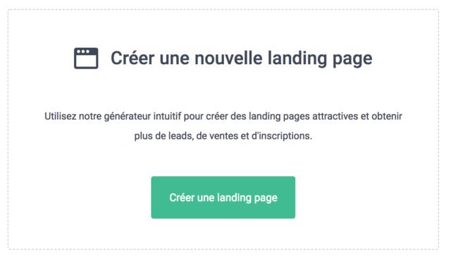 """Bouton """"Créer une nouvelle Landing Page"""" sur Sendinblue"""