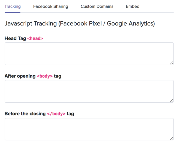 Ajouter un code de tracking javascript (Google analytics ou facebook pixel)