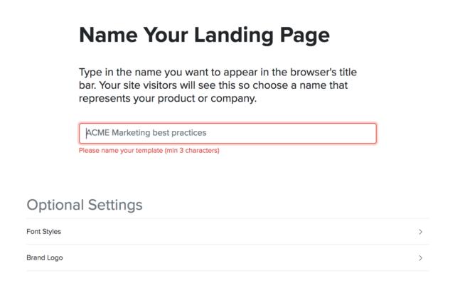 Modifier le nom de la Landing Page