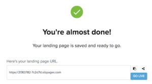 Confirmation de publication de la Landing Page