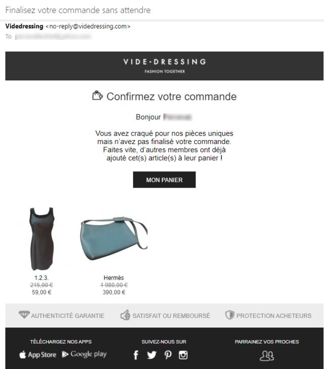 Exemple d'email de relance de panier abandonné par Vide-Dressing