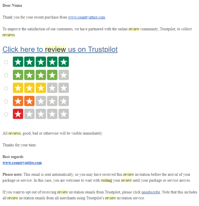 Demande d'avis automatique sur Trustpilot